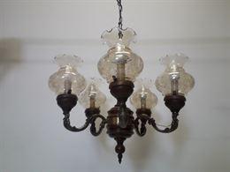 Lampadario vintage legno e ottone 5 lampade