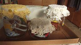 3 vasetti decorati in vetro anche