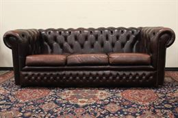 Divano originale Chesterfield 3 posti in pelle marrone