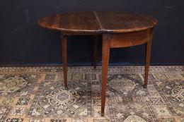 Consolles/tavolo rotondo apribile in legno dell'Ottocento