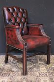 Sedia/poltrona director Chesterfield in pelle bordeaux