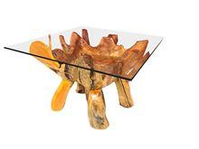 Tavolino da fumo in radica di teak quadrato