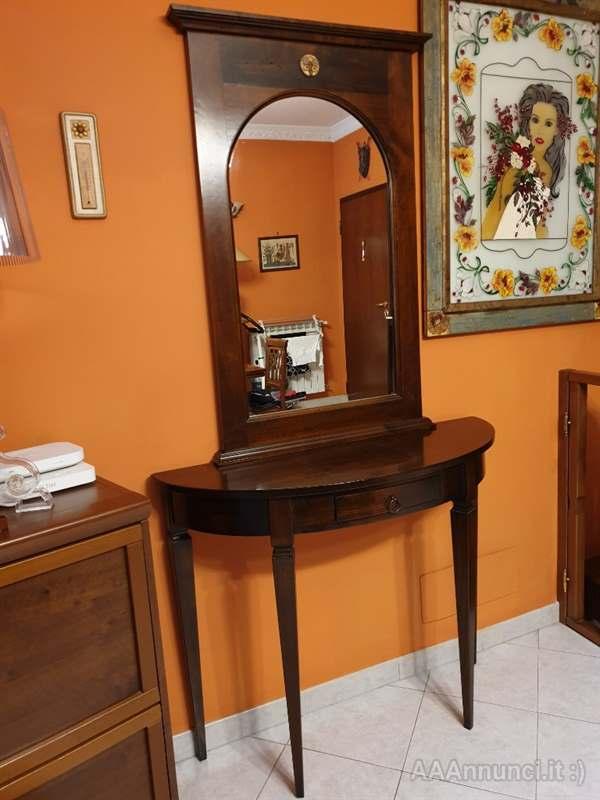 Consolle in legno stile arte povera con specchio - Roma - Lazio