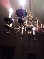 Lampadario sospensione 8 candele peltro