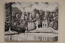 Dipinto olio su tela in bianco e nero, siglato M.D.71