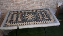 Tavolo in ferro battuto e mosaico in pietra + 6 sedie
