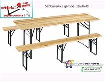 Set Birreria Tavolo CM.220X70 + Panche a 3 Gambe