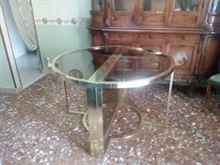 Tavolo ottone e vetro allungabile