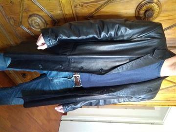Cappotto pelle nera Alta moda Firenze