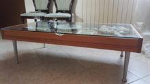 Tavolino sala cristallo e legno massello