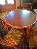 Tavolo + sedie in giunco naturale anni '80