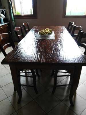 Tavolo in legno antico di olmo 8 sedie -pezzi unici