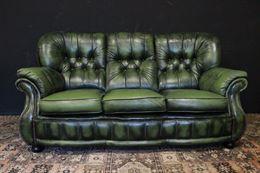 Divano 3 posti originale Chesterfield in pelle verde chiaro