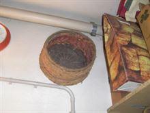 Canestro cilindrico in paglia policroma China fine '900.