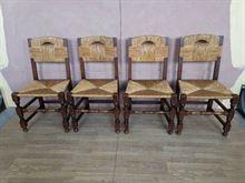 Gruppo di 4 sedie in massello epoca 900'