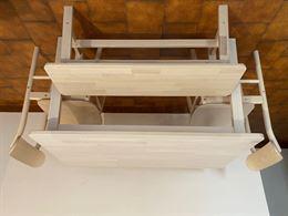 Tavolo, n.2 sedie e panca in legno resistente color betulla
